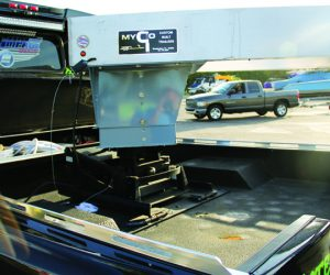 The fifth wheel hitch allows the trailer to rest above and in front of the rear axle.