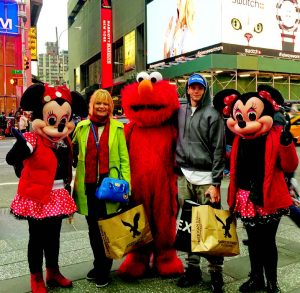Price and her son Kyle (second from right) got to meet some cartoon celebrities during a trip to New York City.